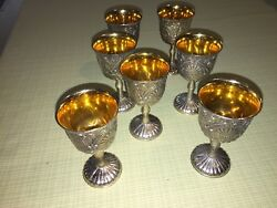 E.p. Zinc And Silver Plated Goblets 3 3/4 Set Of 8