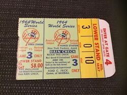 Yankees Mickey Mantle World Series Hr Ticket 16 1964 G3 Passes Babe Ruth