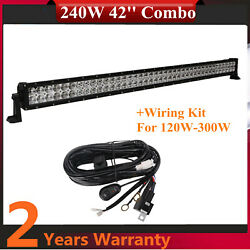 240w 42inch Led Combo Beam Light Bar Vehicles Trailer Ford+wiring Harness Roof