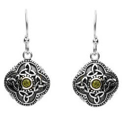 Celtic Tribal Silver Trinity Drop Earrings Peridot Fishhook 15x20mm Irish Gift