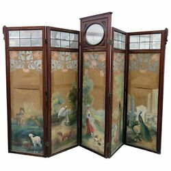 Best Carved Victorian Painted Animal Scene 4 Panel Beveled Glass Screen Divider