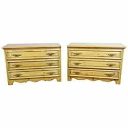 Rare Matched Pair Antique English Country Cottage Pine Commodes Chests Dressers