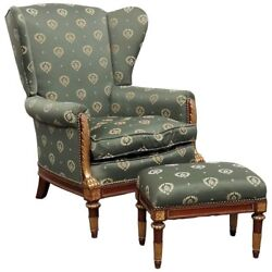 Unique Carved Gilded Paw Armed Maison Jansen Louis Xv Bergere Chair And Ottoman