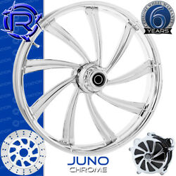 Rotation Juno Chrome Custom Motorcycle Wheel Front Package Harley Fatboy 18