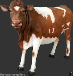 Cow Statue - Life Size Cow Statue - Guernsey Cow Life Size - Brown And White Cow