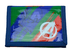 Avengers Splash Design Blue Red Green Tri-Fold Childrens Wallet Kids Hook