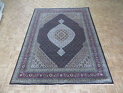 8and03911 X 11and03911 Hand Knotted Persian Black Mahi Tabrez Oriental Rug With Silk G4785