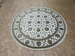 10 X 10 Round Hand Knotted Ivory Agra Tabrez With Silk Oriental Rug G4870