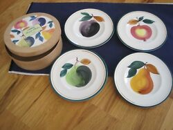 Crate And Barrel Fruit Plates In Wooden Box Pear Plum Grape Apple Set 4