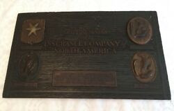 Vtg Wall Hanging OLD FIRE MARKS Used INSURANCE CO NORTH AMERICA Burkart Detroit