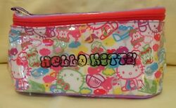 Hello Kitty Cosmetic Vinyl Hand Bag Make Up Case with Hand Strap Cloth Lining $15.99