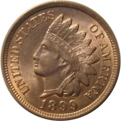 1899 1c Indian Head Cent With Great Luster And Full Liberty