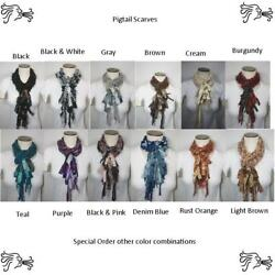 66 Inch Crocheted Yarn Rope Scarf With Texture Fringe Lariat Infinity Women