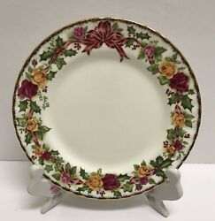 ❤rare Royal Albert Old Country Roses Holiday Wreath Christmas Lunch Salad Plate❤