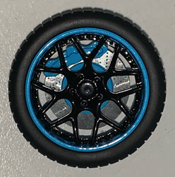 118 AB Models Wheels and Tires Set Sky Forged Wheels Blue Black AB1006A