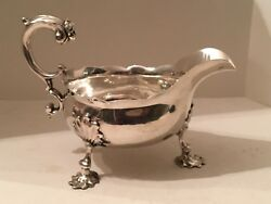 Antique George Ii Mask Face Handle Silver Sauce/gravy Boat 1753 C.chesterman
