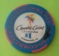 Commerce Casino L.a.and039s Friendliest 1.00 Gaming Chip Great For Any Collection