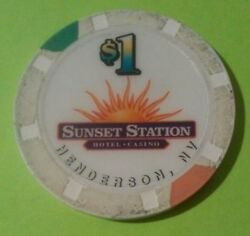 Sunset Casino Henderson Nevada Sun Logo 1.00 Chip Great For Any Collection