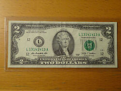 Lucky 2009 2 Two Dollar Federal Note Fancy Serial 13141413