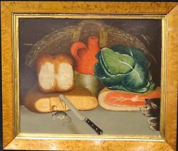 Fine 18th 19th Century English Naive School Kitchen Food Cat And Mouse Still Life