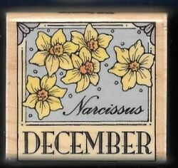 DECEMBER Narcissus Flower of Month Border Calendar Hero Arts wood Rubber Stamp
