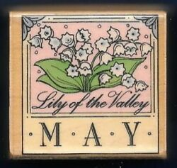 MAY LILY of VALLEY Flower Month Border Calendar Hero Arts B510 wood Rubber Stamp