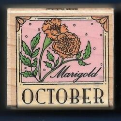 OCTOBER MARIGOLD Flower of Month Border Calendar Hero Arts B535 Rubber Stamp