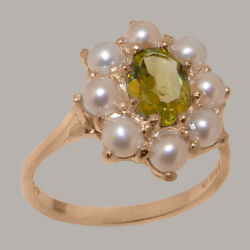 Solid 18ct 750 Rose Gold Natural Peridot And Full Pearl Womens Cluster Ring
