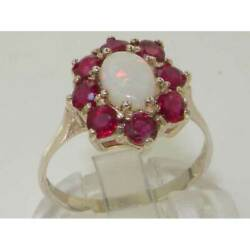 18ct 750 White Gold Natural Opal And Ruby Womens Cluster Ring - Sizes J To Z