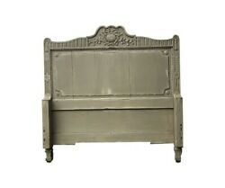 Vintage Grey Painted Wood Headboard and Foot board - Twin Size