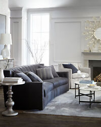 Madeline Tufted Leather Sofa Bernhardt Dark Gray Imported W 4 Pillows Exquisite