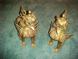 Lot Of 2 Bronze Chinese Foo Dogs Gilded Gold 60 Lbs. 20high 20 Long 12 Wide