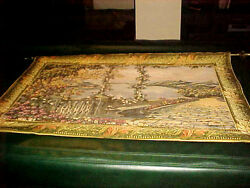 Vintage Tapestry Wall Hanging 52x 36 Scene