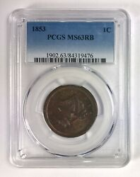 1853 Braided Hair Large Cent 1¢ – Pcgs Ms 63 Rb Red Brown