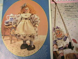 2 Raggedy Anne Swinging And Birdhouse Fabric And Wooden Dolls Rare Oop 1993 Pattern
