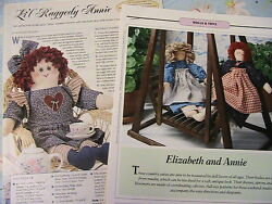 2 Primitive Raggedy Anne Dolls Rare Oop Whimsical Cloth Art Doll Patterns 1998