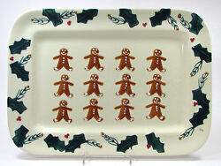 Hartstone Pottery Gingerbread 16.5 Rect Serving Platter Holly Berry Christmas
