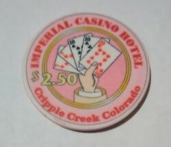 1990and039s Imperial Casino Cripple Creek Colorado 2.50 Chip Great For Collection