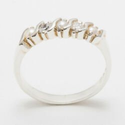 Solid 18ct 750 White Gold Pearl And Cz Womens Eternity Ring - Sizes J To Z