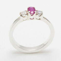18ct 750 White Gold Natural Ruby And Diamond Womens Trilogy Ring - Sizes J To Z