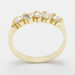 Solid 18ct 750 Yellow Gold Pearl And Cz Womens Eternity Ring - Sizes J To Z