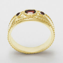 Solid 14ct Yellow Gold Natural Garnet Womens Trilogy Ring - Sizes J To Z
