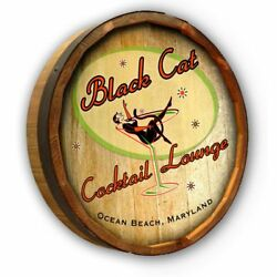 Vintage Style Wood Sign Personalized Black Cat Cocktails 19