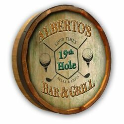 Vintage Style Wood Sign Personalized 19th Hole Bar And Grill 19