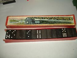 Antique Double Nine Express Train Dominoes By The Embossing Co., Usa Made 56pcs