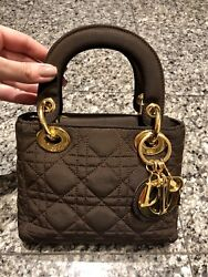Vintage Christian Dior Brown Quilted Satin Mini Cannage Lady Dior Bag