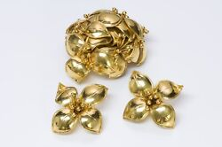 Valentino Garavani Couture 1980andrsquos Gold Tone Flower Earrings Brooch Set