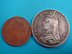Queen Victoria 2 Coins Dg Brittregfd 1889 Silver And 1897 One Cent Nr. 9415