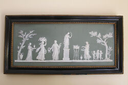 Large Wedgwood Green Jasperware Offering To Peace Framed Plaque C.1800