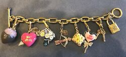 Juicy Couture Valentine's Day Theme Charm Bracelet W/ 7 Retired Charms
